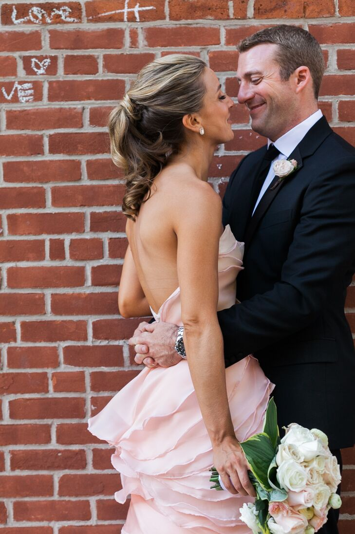 """You know that whole """"blushing bride"""" concept? New York-based bride Cecilia Arasin (28) took it to a new level, thanks to a custom-made, pink wedding d"""