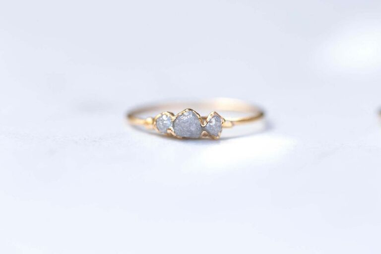 Raw diamond ring 30th anniversary gift