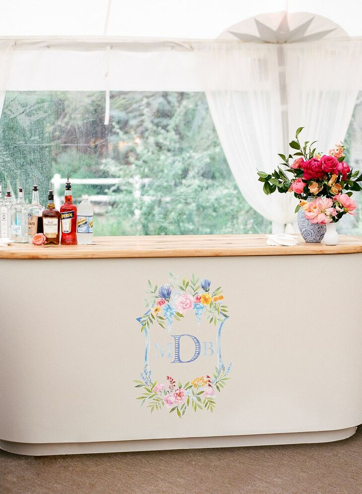 Whimsical Bar with Pastel-Colored Monogram