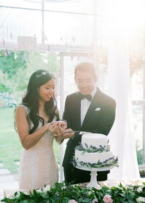 Traditional Cake Cutting and Two-Tier Cake with Lavender Sprigs