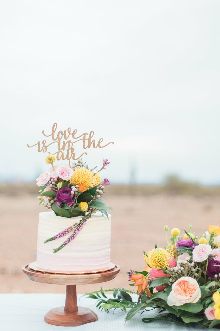 Ombré Cutting Cake with Colorful Floral Topper