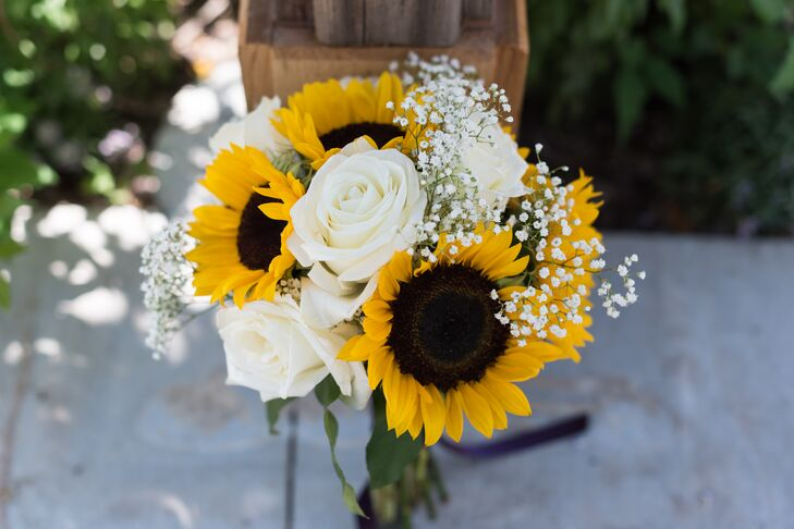Sunflower And White Rose Bridal Bouquet