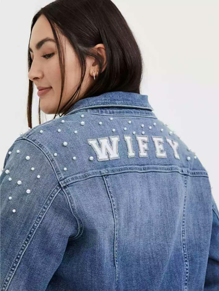 "Pearl embellished ""Wifey"" bride denim jacket"