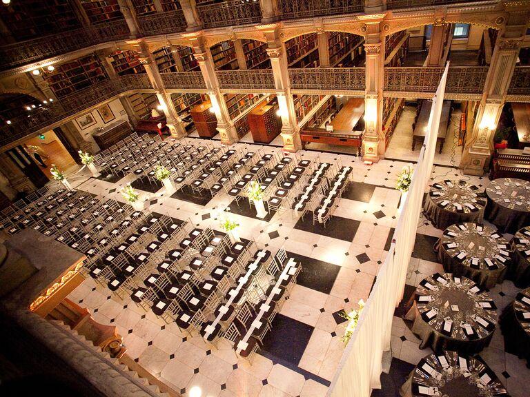 Library wedding venue in Baltimore, Maryland.