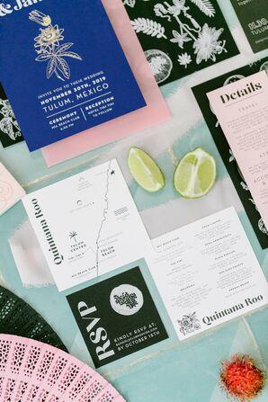 Custom Illustrated Invitations for Wedding in Tulum, Mexico