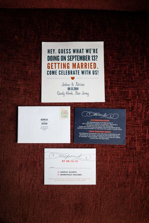 Red, White and Blue Typographic Invitations