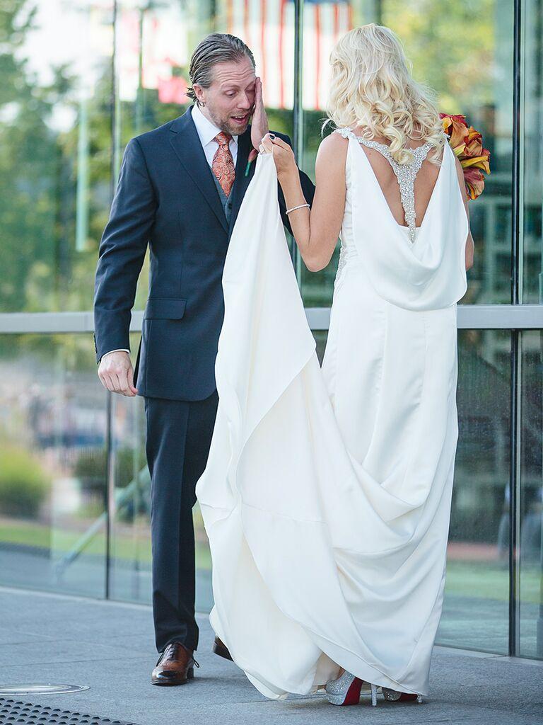 Blue by Enzoani vintage-style wedding dress with embellished back detail
