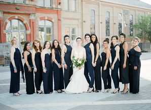 Modern Bridesmaids in Navy Blue Jumpsuits