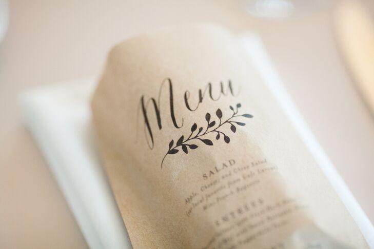 Rustic Paper Bread Bag Menus