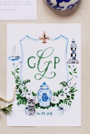 Watercolor Save-the-Date with Monogram