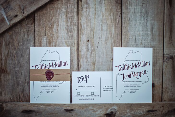What better way to celebrate the place where you and your beau met than including it in your invitation? The couple chose a white invitation suite that featured a red outline of the state of Maine.  Wax monograms with the couple's new, shared initial completed the package.