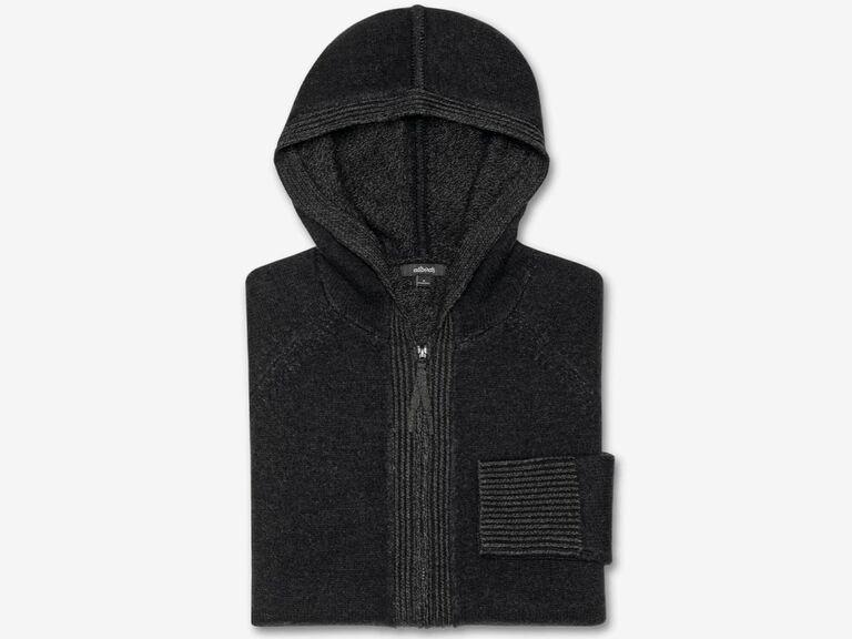 Folded black merino wool hoodie 20th anniversary gift