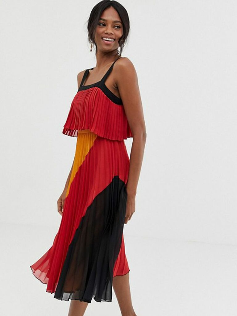 Red and black pleated wedding guest midi dress