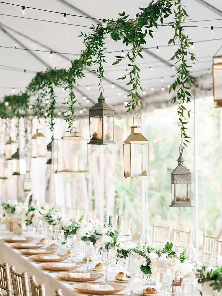 20 easy ways to decorate your wedding reception easy decor idea opting for small centerpieces and supplimenting with hanging garland junglespirit Choice Image