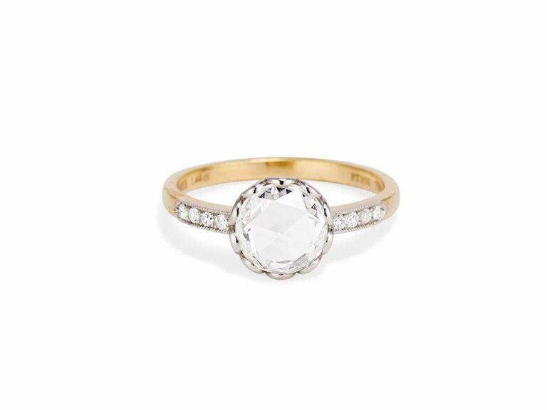 rose cut diamond engagement ring in 18K yellow gold