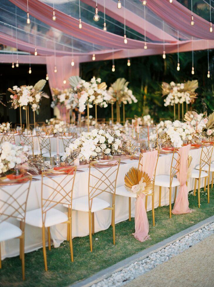 Gold Chairs and Café Lights at Phuket, Thailand, Wedding Reception