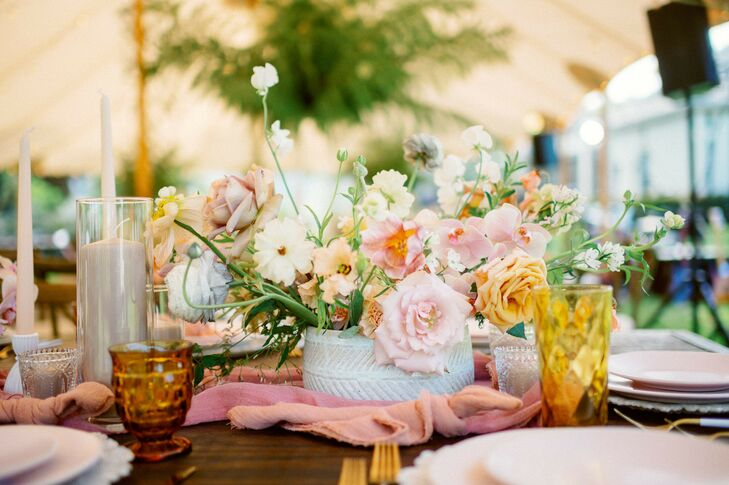 Bright Flower Arrangements at Bohemian Wedding in Naples, Florida
