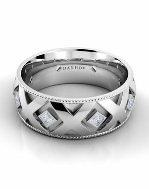 Danhov Classico Flat X Band White Gold Wedding Ring