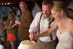 One-Tier Angle Food Cake Wedding Cake