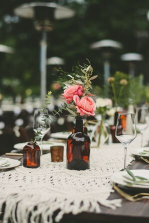 Brown Glass-Bottle Centerpieces