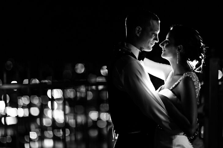 Bride and Groom Lit by the City