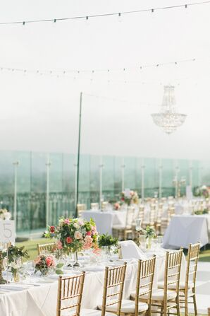 Elegant, Whimsical Rooftop Reception With Chandeliers