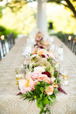Romantic Rose and Candle Table Runner