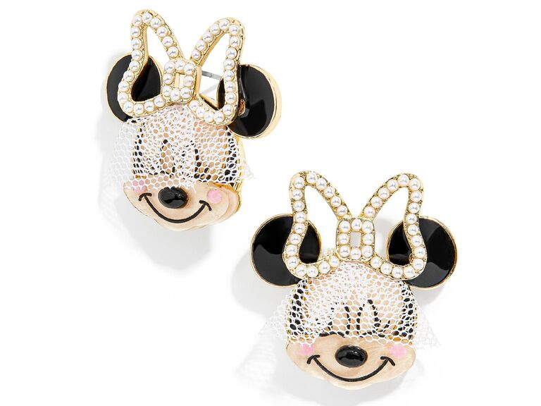 Bridal Minnie Mouse stud earrings with white veil and white and gold bow