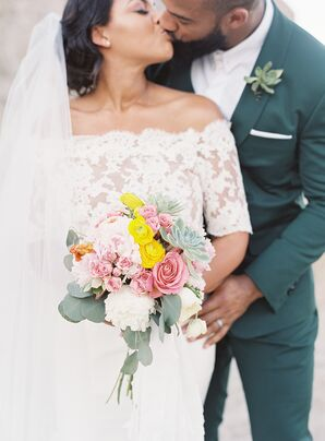 Bright Bohemian Bouquet of Pink Peonies and Roses, Succulents and Eucalyptus