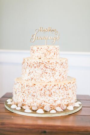 Beach-Themed Coconut Wedding Cake