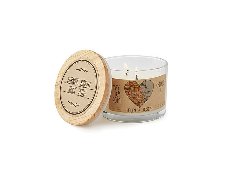 Custom map candle 16th anniversary gift