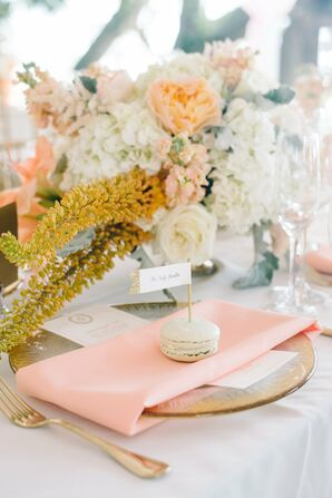 Mint Macaron With Gold Flag Place Card