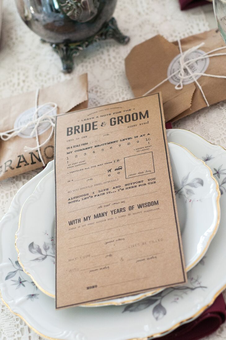 Lauren's best friend and matron of honor designed these cards, which guests filled with advice and notes for the couple to read postwedding.