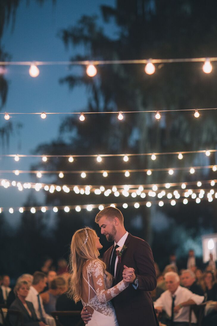 Outdoor First Dance Under String Lights