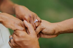 Couple Holding Hands During Wedding in Nashville, Tennessee