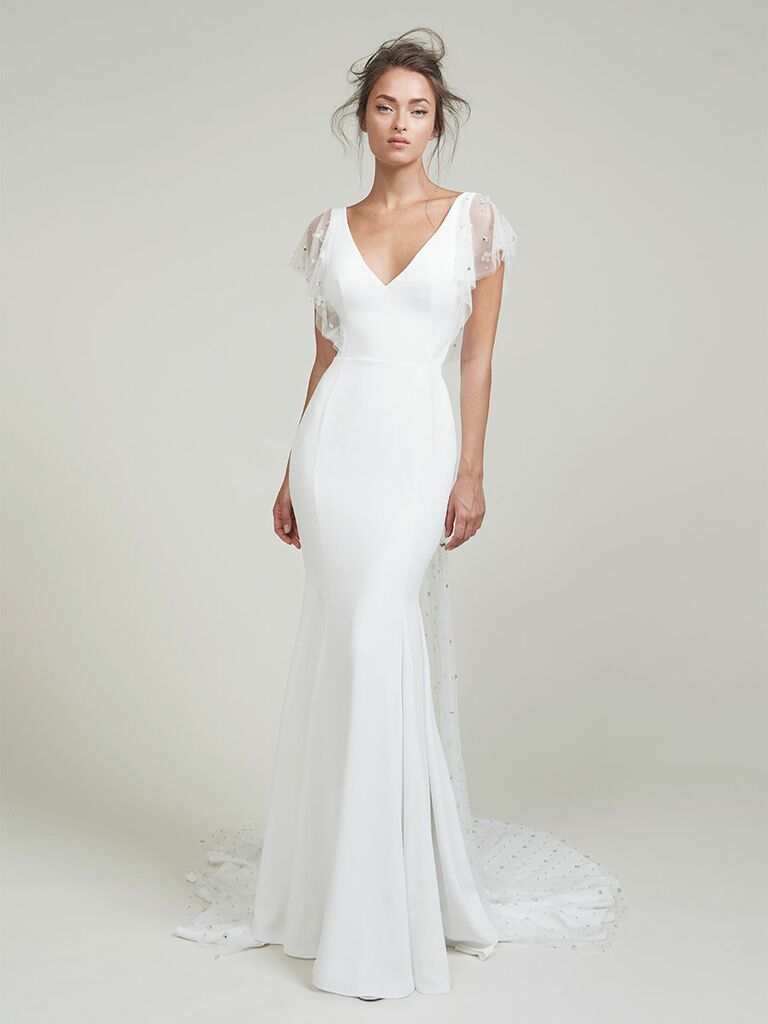 Lihi Hod wedding dress trumpet gown with sheet flutter sleeves