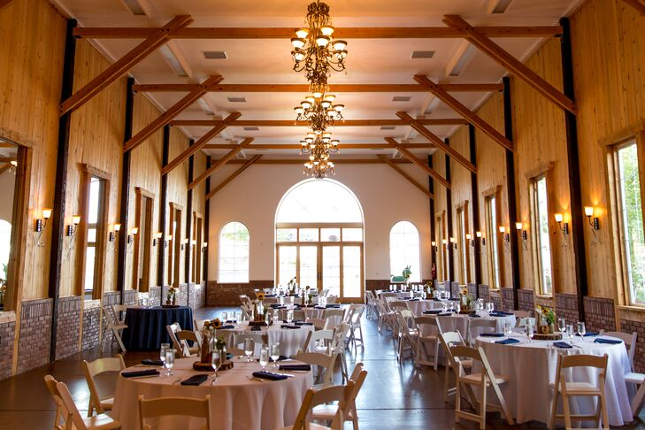 Kerry and Billy had their reception inside at Crooked Willow Farms in Larkspur, Colorado. They loved the brick and wooden walls and the golden chandeliers. It provided a quintessential shabby-chic feel for dinner and dancing.