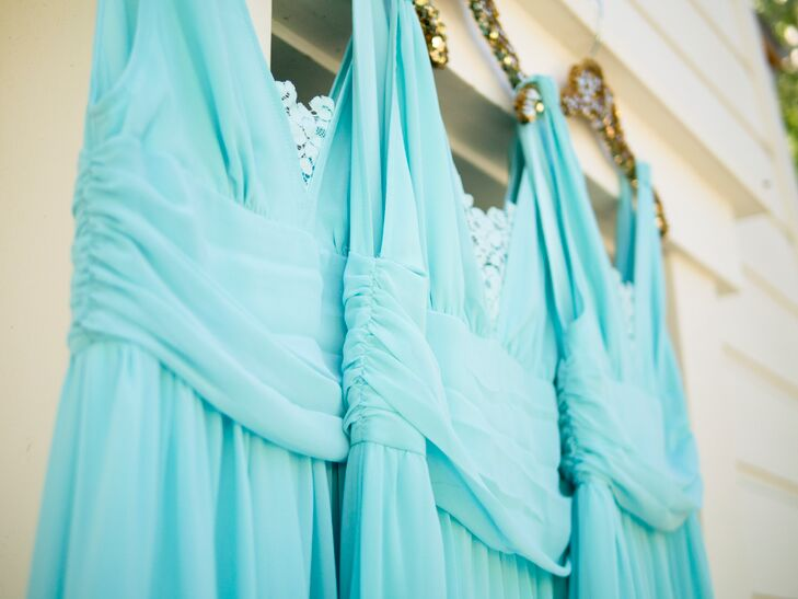 Blue Bridesmaid Dresses with Lace Accents