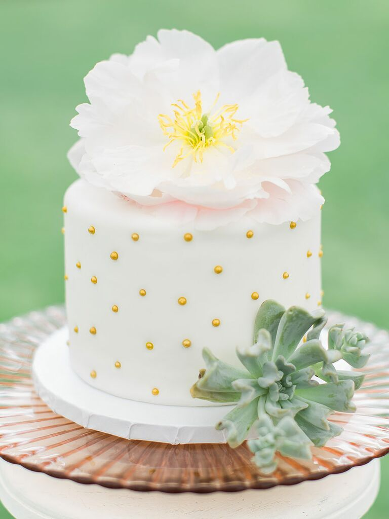 1. White Cake With Gold Polka Dots. Single Tier Wedding ...