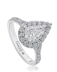 Christopher Designs Elegant Pear Cut Engagement Ring
