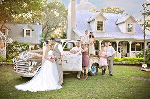 A-Line Ivory Wedding Dress, Champagne Sash