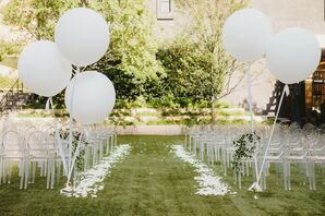 White Balloon Ceremony Aisle Markers