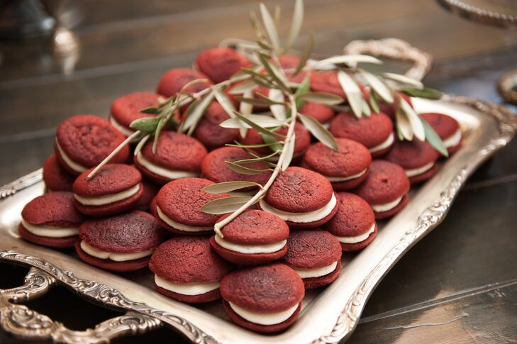 Red velvet whoopie pies accompanied the side cakes for a more informal handheld option. The smaller cakes were also richly flavored red velvet and were whitewashed with a thin layer of icing to emulate the snowy weather.