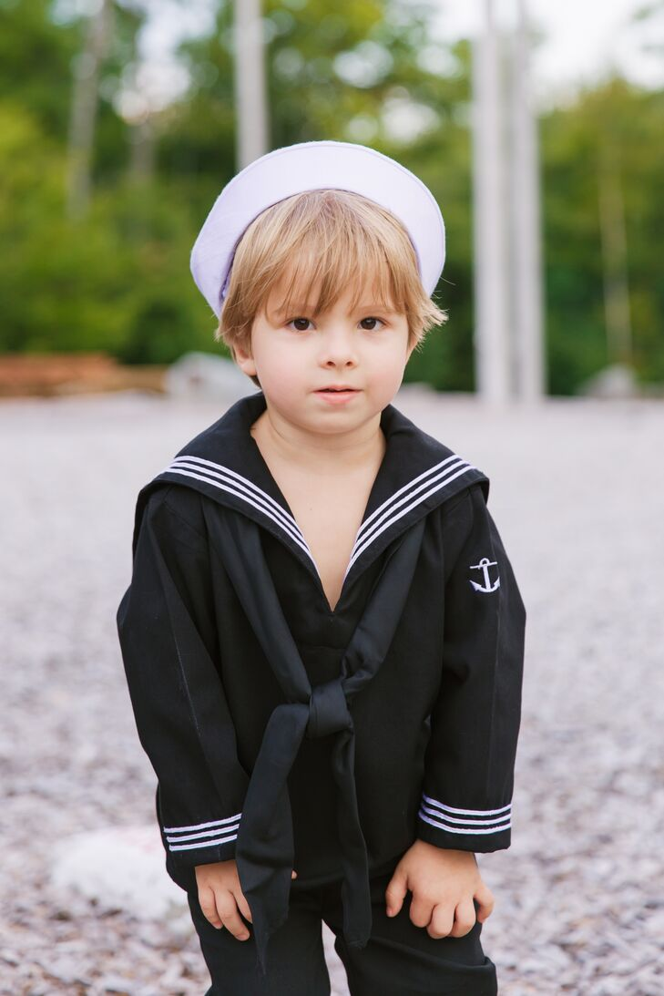 Christin's son wore a classic sailor's uniform, a nod to Eben's Navy service.