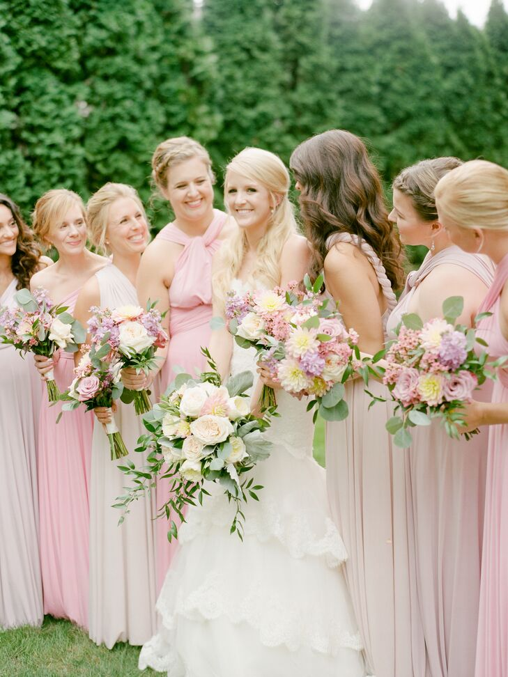 Romantic Blush and Pink Chiffon Dresses