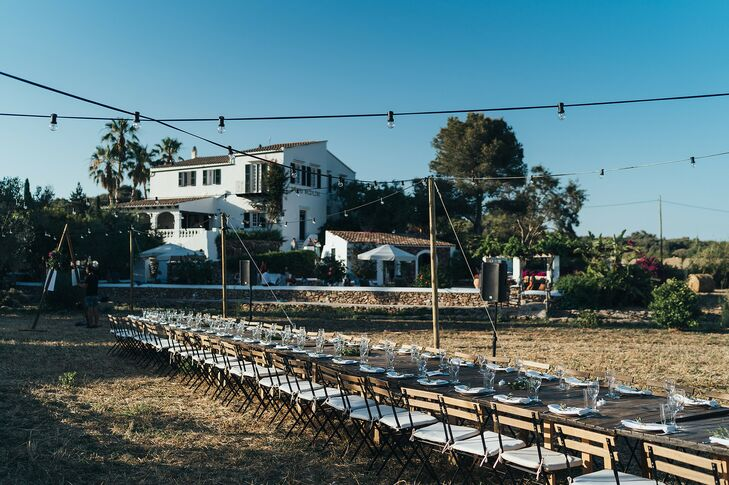 Reception Table in a Field at Private Estate in Menorca, Spain