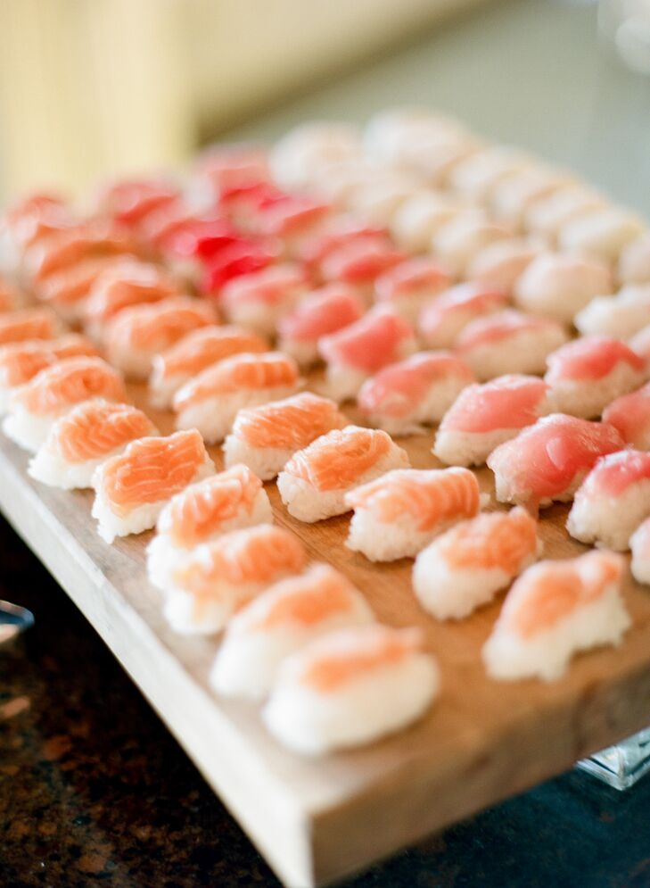 """""""I would have to say the sushi and macaroni and cheese bar were the two biggest hits,"""" says Caroline. """"We served an assortment of sushi and nigiri rolls — the ingredients were so fresh."""""""