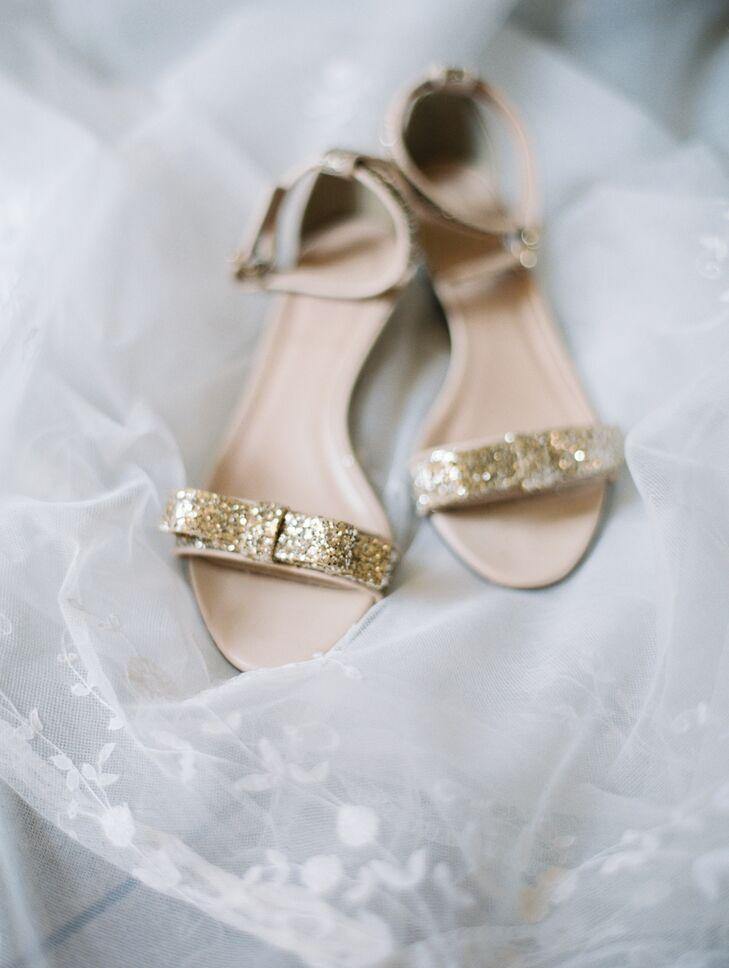 Sparkly Gold Bridal Sandals