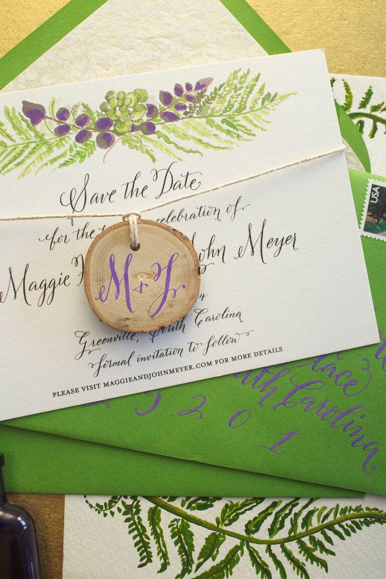 Green and purple themed wedding invitations