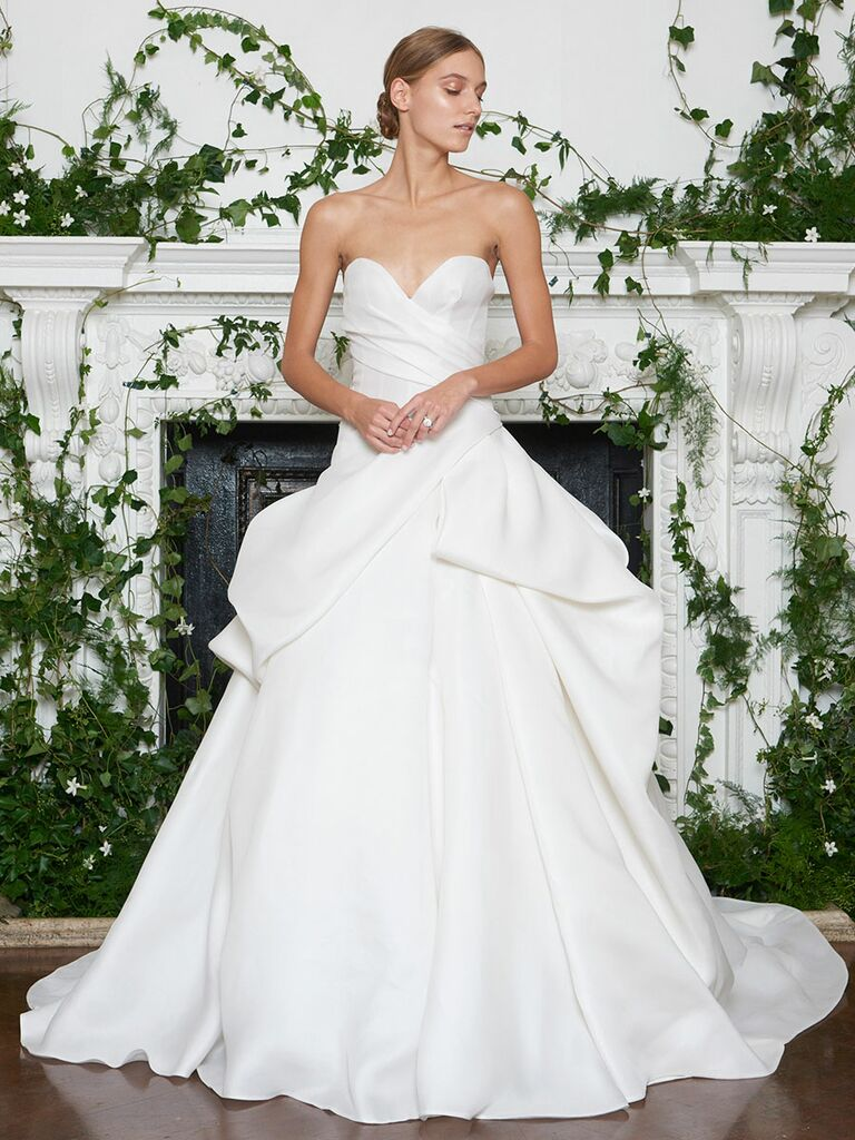 Monique Lhuillier Fall 2018 deep sweetheart strapless wedding dress with asymmetrical tucked skirt
